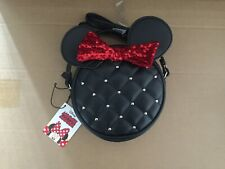 Minnie Handbag With Stud Ears Red Bow Leather Zip