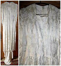 VINTAGE 30S 40S IVORY EMBOSSED SATIN WEDDING DRESS UK 8 WWII