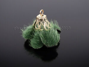 Colorful Hairy Cloth Flower 23mm Gold Plated Pendant Jewelry Crafts Design