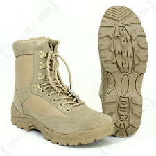 Khaki Tactical Army Boots with YKK Side Zipper - Desert Combat Military Tan New