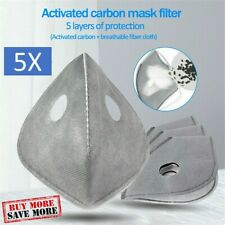 5 Pack PM2.5 Activated Carbon Replacement Filters for Dual Valve Face Masks