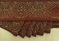 Vintage saree Border Indian Sari Embroidered Sewing Brown Ribbon 1YD Wrap Trim