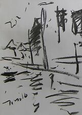 JOSE TRUJILLO MODERN EXPRESSIONIST ORIGINAL CHARCOAL DRAWING VENICE WATER ART