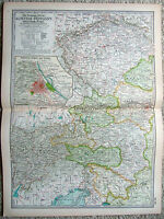 Original 1897 Map of Austria Hungary - Western Part - By The Century Co. Antique
