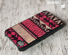iPhone 4 4s CUSTOMIZED CASE CUSTOM DESIGN W HIGH QUALTY RED GEOMETRIC AZTEC