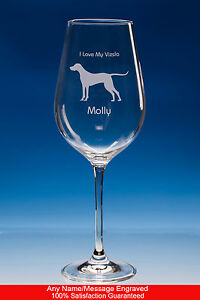 Vizsla Wine Glass Dog Gift Personalised Engraved Vizsla Dog Gift For Dog Lovers