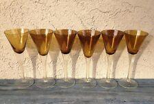 MID CENTURY SET OF 6 TALL SLEEK WINE GLASSES / GOBLETS, HAND BLOWN AMBER GLASS