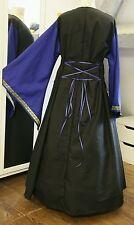 Mittelalter Kleid Gewand LARP Gothic Schwarz mit blau  Gr. 50 52 54 Borte