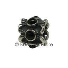 NEW Pandora 'Forget Me Not' Silver ALE Black Onyx Flower Charm Bead 790470O