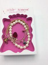 Betsey Johnson Goldtone Faux Pearl Apple Bee Ladybiug Charm 2 Bracelet Set Boxed