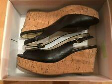 Michael Kors Women's Black Leather Wedge Open Toe Sandals Size: 9 M