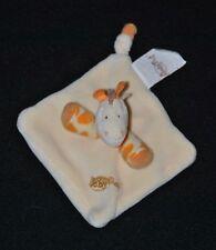 Peluche doudou mini girafe plat BABY NAT' jaune beige 9* 9 cm NEUF