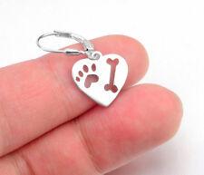Ohrhänger Herz mit Pfote und Knochen Hund Sterling Silber 925