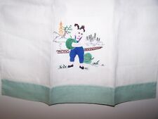 Vintage Linen Towel Hand Embroidered Asian Theme Woman with Melon