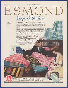 Vintage 1922 ESMOND Jacquard Blankets Bedding Baby Decor Ephemera 20's Print Ad