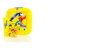 CS LOONEY TUNES ROAD RUNNER FIRST AMERICAN BRANDS SET IN YELLOW TIN LUNCH BOX