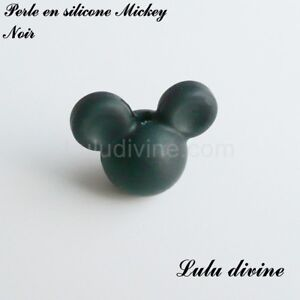Perle en silicone ronde Mickey, silicone alimentaire : Noir