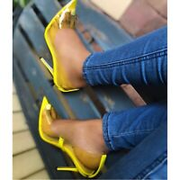 New Clear Transparent Perspex PVC Pointy Toe Pumps Heels Yellow