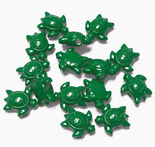 25 Green Sea Turtles shape pony beads made USA Church School kids crafts