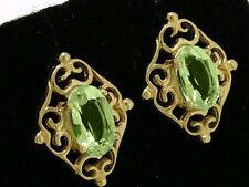 E028 - Ornate GENUINE 9ct Solid Yellow Gold NATURAL Peridot Stud Earrings