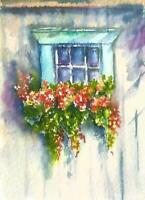 ACEO window garden flowers watercolor original painting art card signed