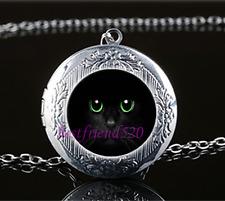 Black Cat Green Eye Photo Glass Tibet Silver Chain Locket Pendant Necklace#YY20