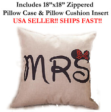 """18""""X18"""" 18in 18x18 MRS. MINNIE MOUSE PHOTOBOOTH Throw Pillow Case & Cushion"""