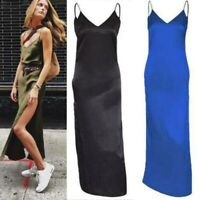 Summer Women Dress Slip Maxi Backless Satin Long Evening Silk V-Neck