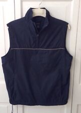 Mens Izod Navy Golf Windbreaker Pullover Vest with Collar and 3 Pockets Size S