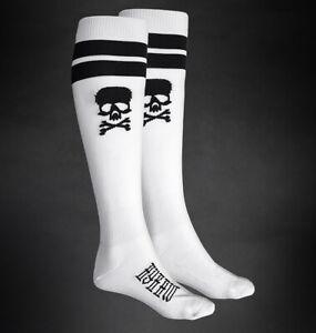 Hyraw Gothic Goth Punk Skater Socken Strümpfe - Skull Knee White Totenkopf