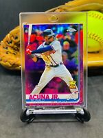 Ronald Acuna Jr RC Pink Refractor Chrome Rookie Card Braves Red White Blue Rare
