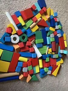 130 Wooden Building Bricks Blocks Toy Bundle nursery pre-school imaginative