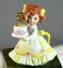 Lefton China Vintage Figurine 3 Year Old Birthday Girl