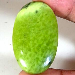 Untreated 57.15 Ct Natural Green Lemon jade green Oval Shape 27x44x5 mm Gemstone
