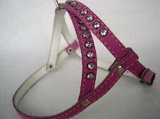 Pink HUNDEGESCHIRR - Geschirr, Brustumfang 30-36 cm, Leder+Strass (17-3-2-09)