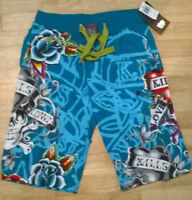 "Mens ed hardy blue shorts beach/pyjamas/lounge NEW Size Small, waist 28"" 30"" 32"""