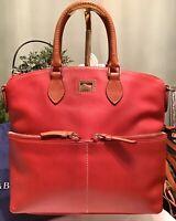 Dooney Bourke Dillen Pebbled Florentine Leather Satchel Hobo Front Pocket RED