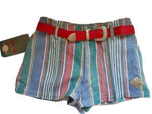 NWT Vintage Shorts Multicolor Stripes Waist 30 Size S Hot Pants with Belt