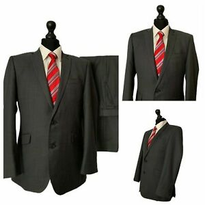 Mens 2 Piece Suit 40R 34W 29L Grey Single Breasted Formal Business  P178