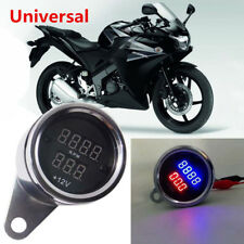 New Chrome Universal Motorcycle LED Digital PRM Tachometer Voltmeter Gauge Combo