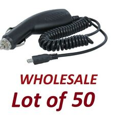 Wholesale Lot of 50 Premium Universal Micro Usb Car Chargers - Black (x 50)
