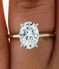 1.5ct ROUND BRILLIANT OVAL CUT SOLITAIRE ENGAGEMENT RING SOLID 14K YELLOW  GOLD