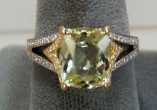 Tourmaline Ring, Cushion, Light Green,14k, White and Yellow Gold , Diamond
