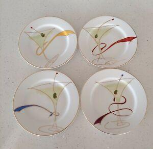 "Pier 1 Imports Martini Glass Salad Appetizer Plates 7.5"" Porcelain Set of 4"