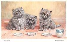 "BLUE PERSIAN KITTENS  Cat Postcard  ""TEA TIME""   Mabel Gear  Card"