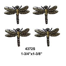 #4372S Lot 4Pcs Black/Silver Dragonfly Embroidery Iron On Applique Patch