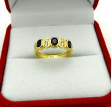 Solid 750 (18k) Yellow Gold 3-stone Blue Sapphire Ring Band with Accents size 5