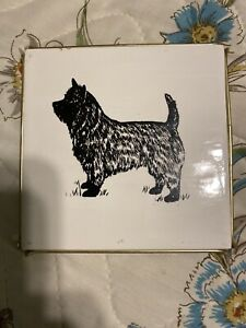 Cairn Terrier Tile, Trivet, Handpainted, Gold Tone Stand,