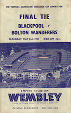 Blackpool v Bolton Wanderers FA Cup Final 1952/53 includes 2 autographs