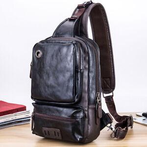 Men's Sling Backpack PU Leather Large Capacity Cross Body Bag Chest Shoulder Bag